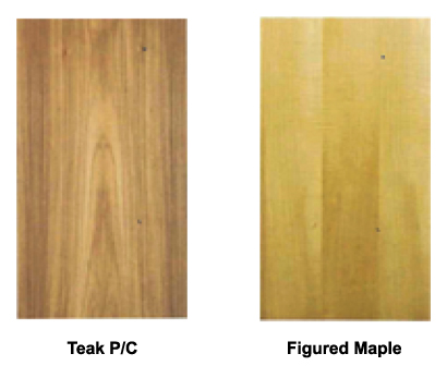 teak p c figured maple